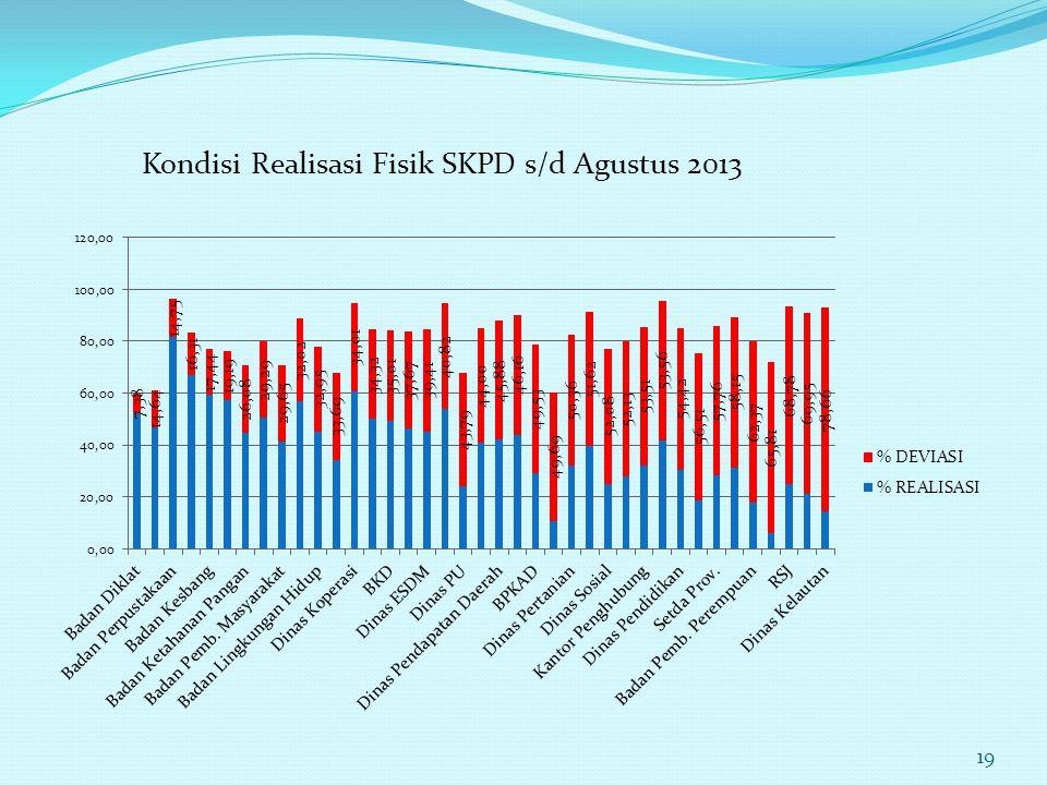 Kondisi Realisasi Fisik SKPD s/d Agustus 2013 19