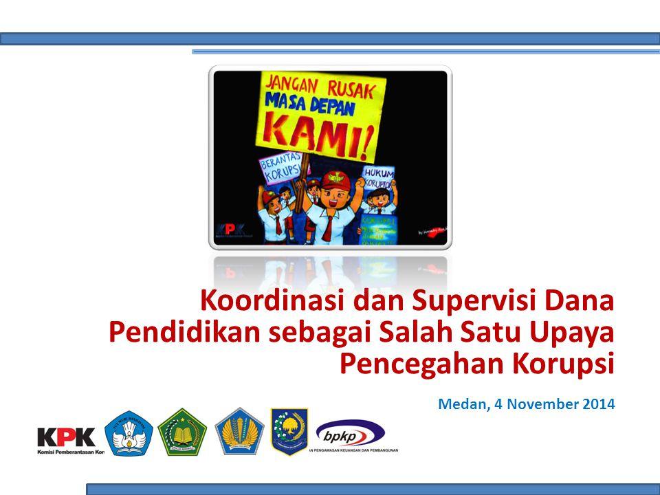 Potret Pendidikan Indonesia: Penduduk usia sekolah yang belum sekolah (3-23 tahun) mencapai angka 30 juta jiwa (34% dari total penduduk usia sekolah) (sumber: PDSP Kemdikbud 2012) Lulusan tidak melanjutkan mencapai 18% untuk SD, 7% untuk SMP dan 52% untuk SM (sumber: PDSP Kemdikbud 2012) Ruang kelas rusak (ringan dan berat) masih cukup tinggi (28% untuk tingkat TK, 24% untuk SD, 15% untuk SMP, 11% untuk SMU/SMK) (sumber: PDSP Kemdikbud 2012) Periode 2003-2013 ditemukan 296 kasus korupsi dana pendidikan yang disidik penegak hukum dan menyeret 479 orang sebagai tersangka.