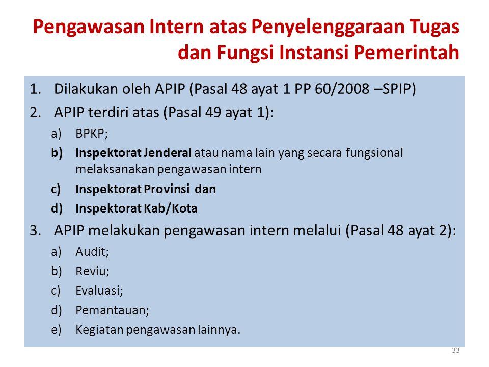 Pengawasan Intern atas Penyelenggaraan Tugas dan Fungsi Instansi Pemerintah 1.Dilakukan oleh APIP (Pasal 48 ayat 1 PP 60/2008 –SPIP) 2.APIP terdiri at