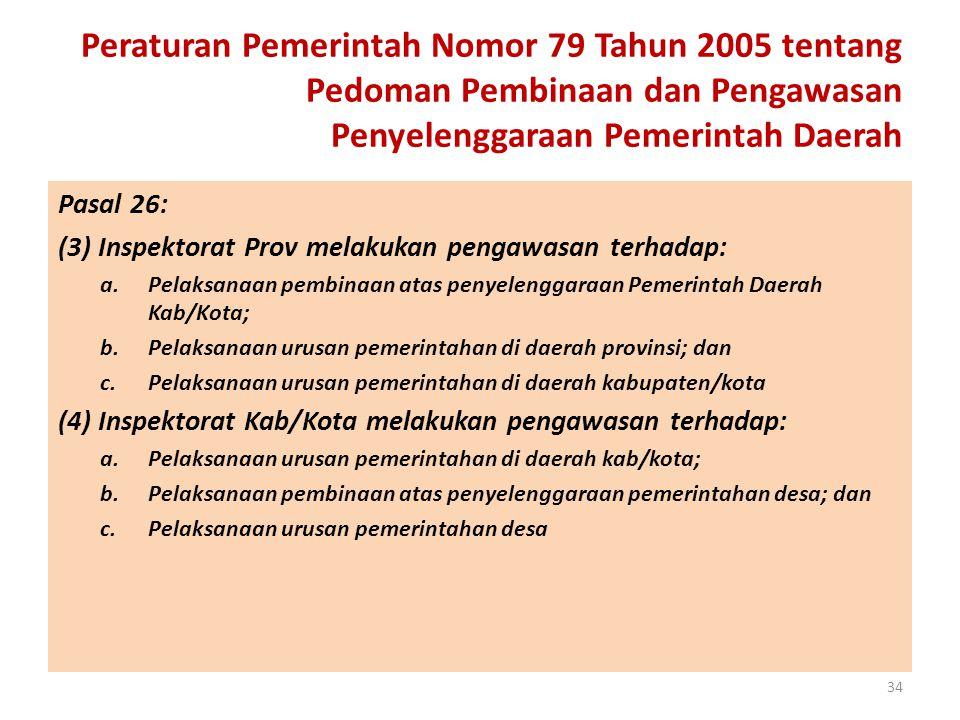 Peraturan Pemerintah Nomor 79 Tahun 2005 tentang Pedoman Pembinaan dan Pengawasan Penyelenggaraan Pemerintah Daerah Pasal 26: (3) Inspektorat Prov mel
