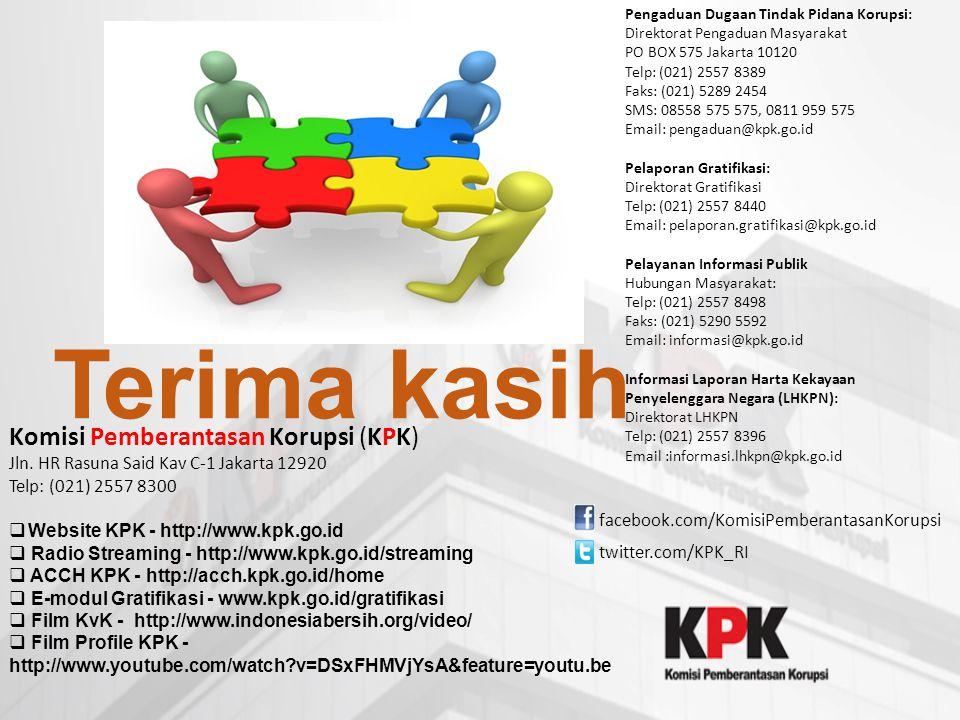 Terima kasih Komisi Pemberantasan Korupsi (KPK) Jln. HR Rasuna Said Kav C-1 Jakarta 12920 Telp: (021) 2557 8300  Website KPK - http://www.kpk.go.id 