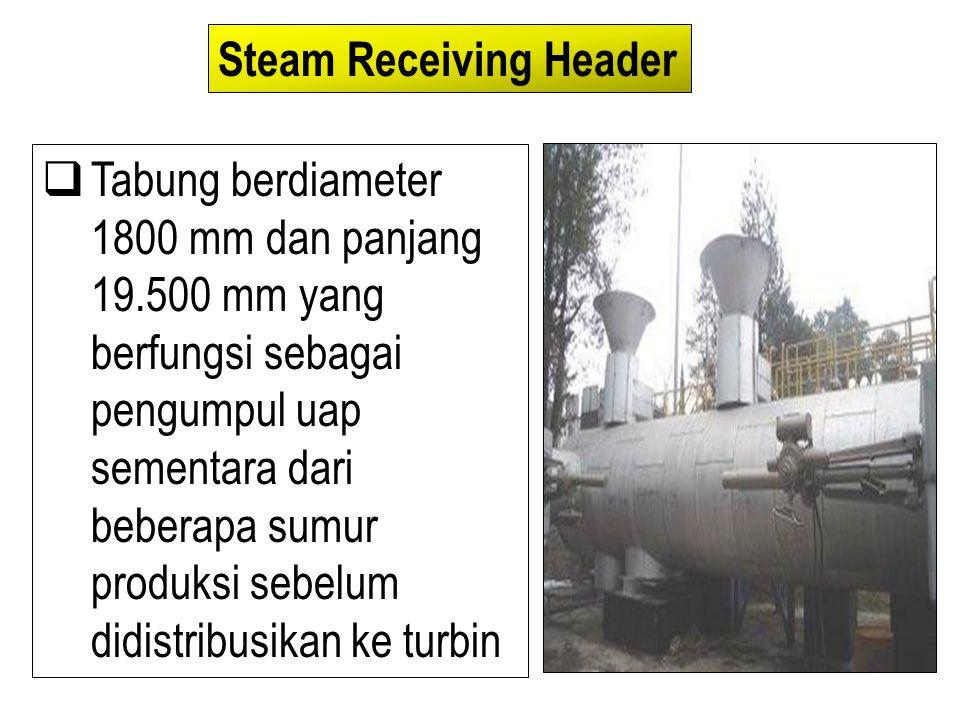  Tabung berdiameter 1800 mm dan panjang 19.500 mm yang berfungsi sebagai pengumpul uap sementara dari beberapa sumur produksi sebelum didistribusikan