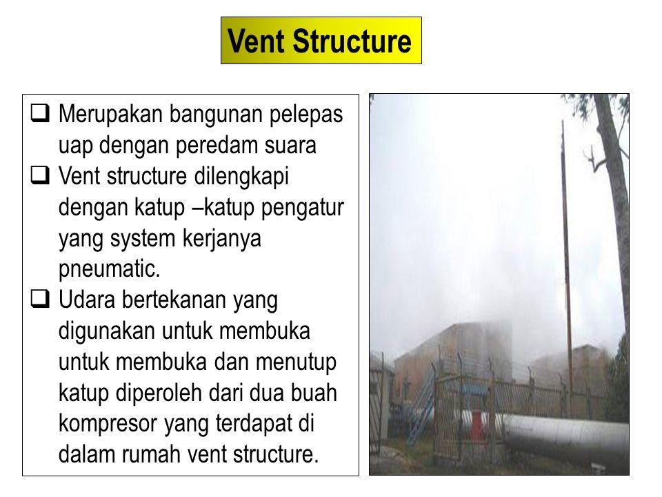  Merupakan bangunan pelepas uap dengan peredam suara  Vent structure dilengkapi dengan katup –katup pengatur yang system kerjanya pneumatic.  Udara