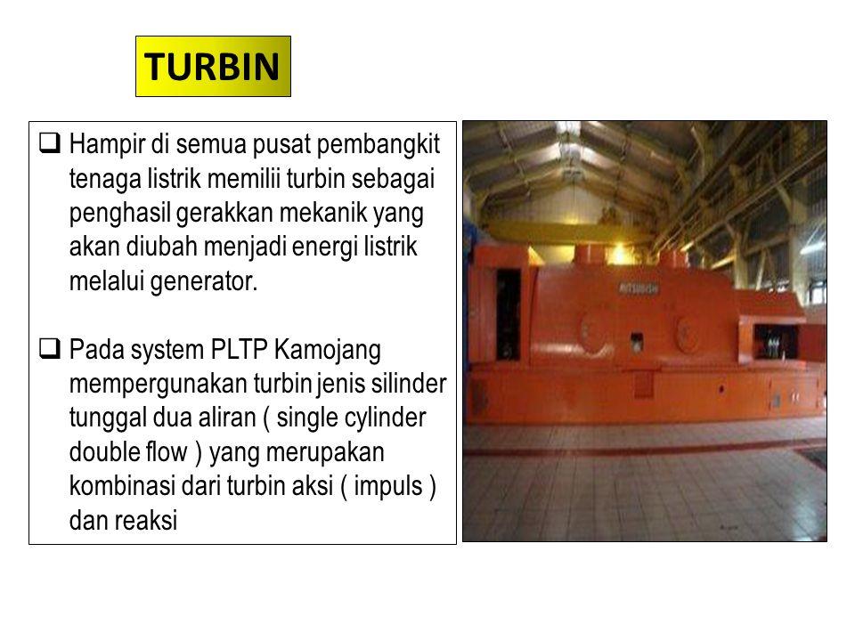  Hampir di semua pusat pembangkit tenaga listrik memilii turbin sebagai penghasil gerakkan mekanik yang akan diubah menjadi energi listrik melalui ge