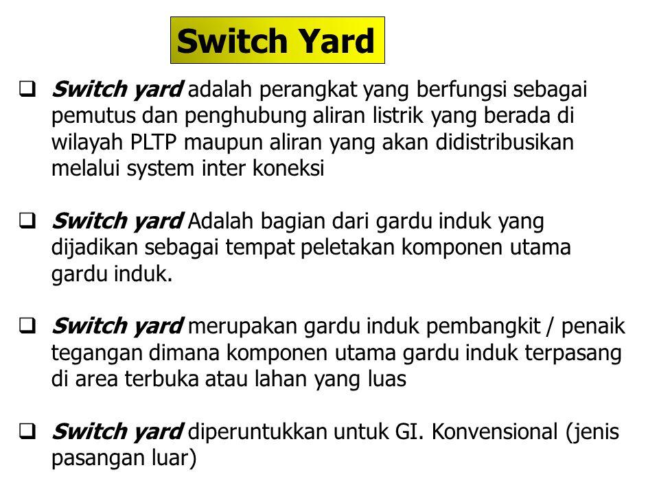  Switch yard adalah perangkat yang berfungsi sebagai pemutus dan penghubung aliran listrik yang berada di wilayah PLTP maupun aliran yang akan didist