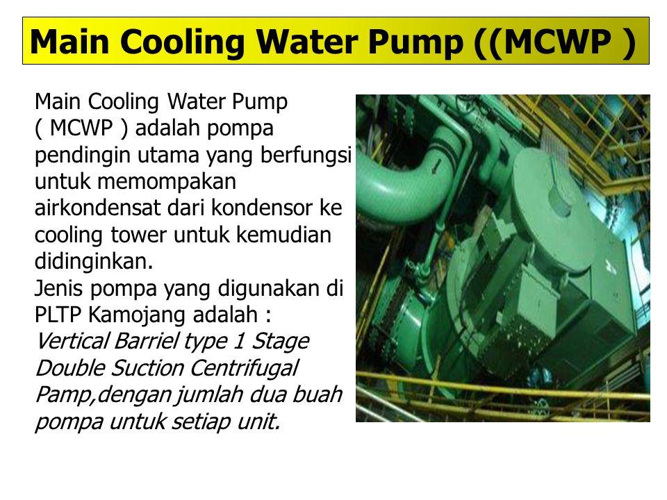 Main Cooling Water Pump ( MCWP ) adalah pompa pendingin utama yang berfungsi untuk memompakan airkondensat dari kondensor ke cooling tower untuk kemud