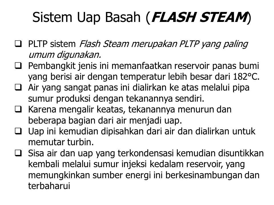  PLTP sistem Flash Steam merupakan PLTP yang paling umum digunakan.  Pembangkit jenis ini memanfaatkan reservoir panas bumi yang berisi air dengan t