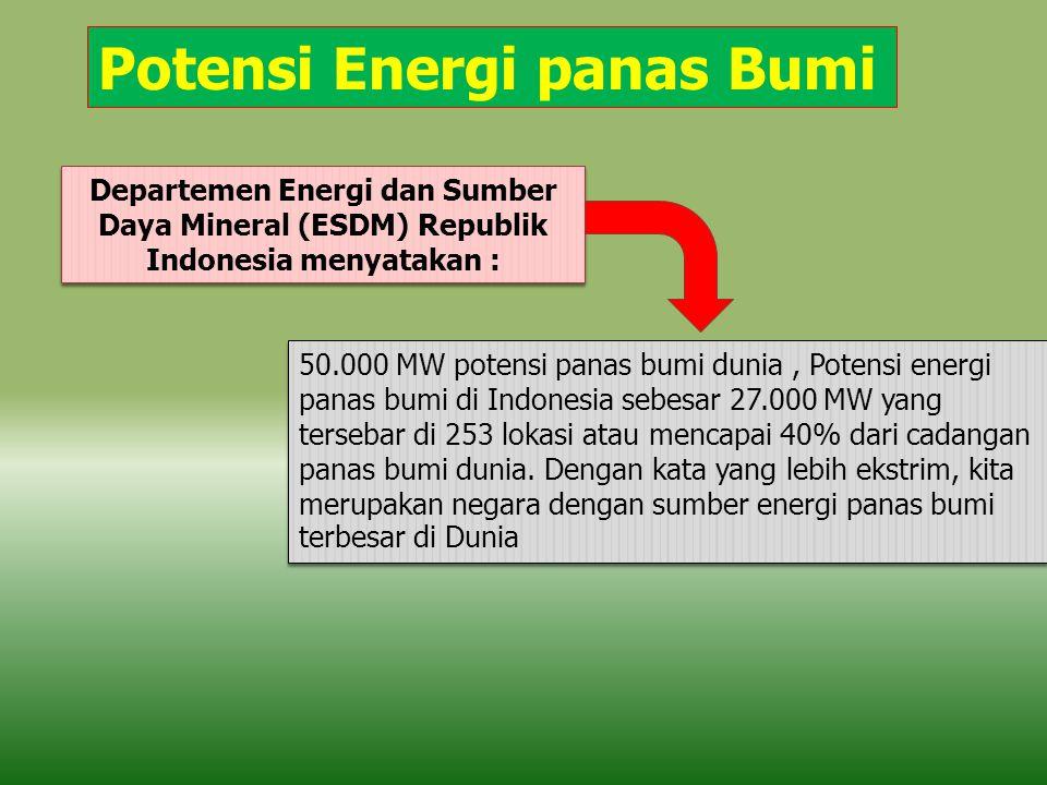 Potensi Energi panas Bumi 50.000 MW potensi panas bumi dunia, Potensi energi panas bumi di Indonesia sebesar 27.000 MW yang tersebar di 253 lokasi ata