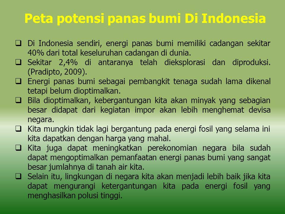  Di Indonesia sendiri, energi panas bumi memiliki cadangan sekitar 40% dari total keseluruhan cadangan di dunia.  Sekitar 2,4% di antaranya telah di