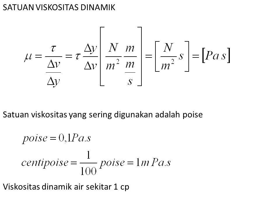 SATUAN VISKOSITAS DINAMIK Satuan viskositas yang sering digunakan adalah poise Viskositas dinamik air sekitar 1 cp