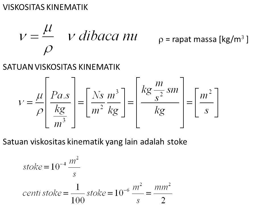 VISKOSITAS KINEMATIK  = rapat massa [kg/m 3 ] SATUAN VISKOSITAS KINEMATIK Satuan viskositas kinematik yang lain adalah stoke