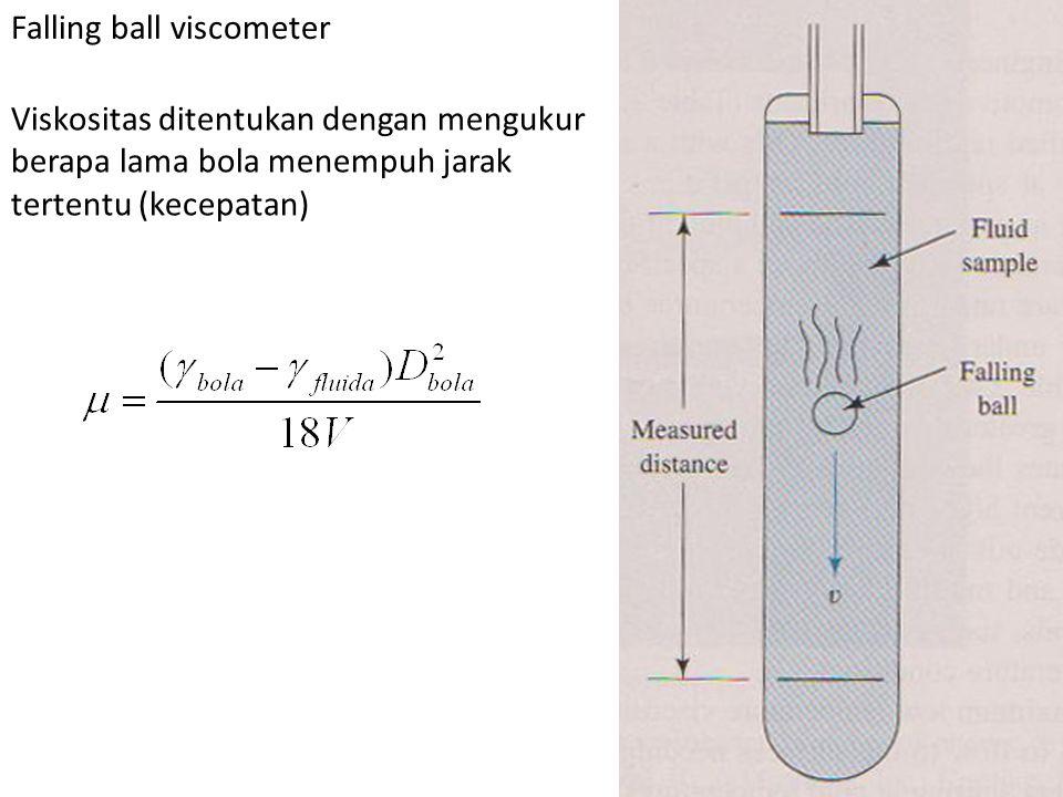 Falling ball viscometer Viskositas ditentukan dengan mengukur berapa lama bola menempuh jarak tertentu (kecepatan)