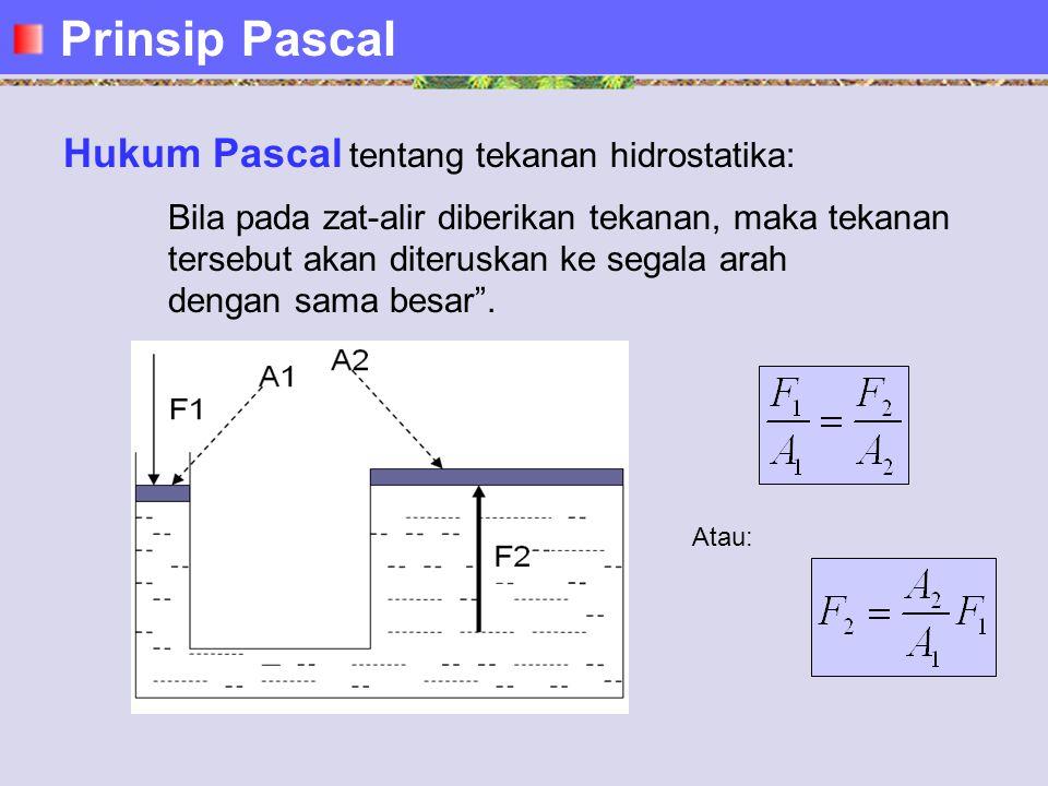 Hukum Pascal tentang tekanan hidrostatika: Bila pada zat-alir diberikan tekanan, maka tekanan tersebut akan diteruskan ke segala arah dengan sama besar .