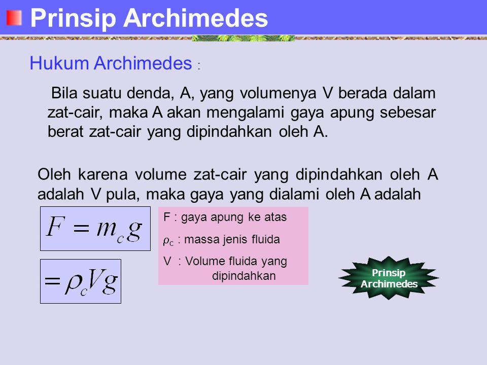 Hukum Archimedes : Bila suatu denda, A, yang volumenya V berada dalam zat-cair, maka A akan mengalami gaya apung sebesar berat zat-cair yang dipindahkan oleh A.