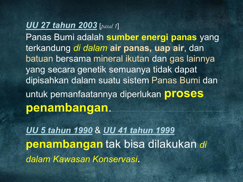 UU 27 tahun 2003 [ pasal 1 ] Panas Bumi adalah sumber energi panas yang terkandung di dalam air panas, uap air, dan batuan bersama mineral ikutan dan