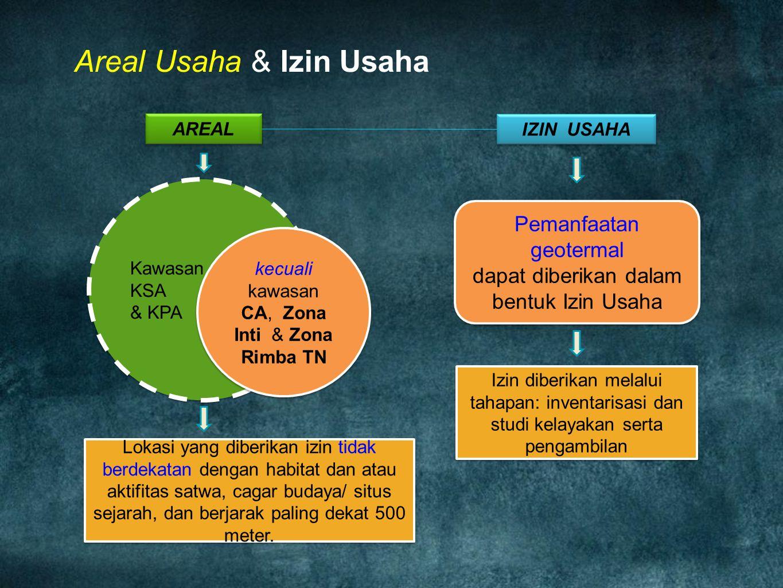 Areal Usaha & Izin Usaha AREAL Kawasan KSA & KPA Kawasan KSA & KPA kecuali kawasan CA, Zona Inti & Zona Rimba TN IZIN USAHA Pemanfaatan geotermal dapa