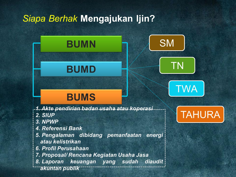 SM TWA TN BUMD BUMS TAHURA 1. Akte pendirian badan usaha atau koperasi 2. SIUP 3. NPWP 4. Referensi Bank 5. Pengalaman dibidang pemanfaatan energi ata