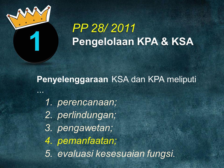 PP 28/ 2011 Pengelolaan KPA & KSA Penyelenggaraan KSA dan KPA meliputi... 1.perencanaan; 2.perlindungan; 3.pengawetan; 4.pemanfaatan; 5.evaluasi keses