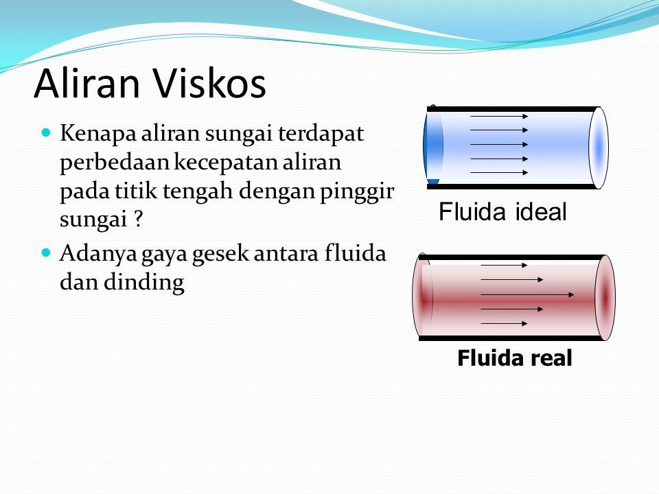 Aliran Viskos Kenapa aliran sungai terdapat perbedaan kecepatan aliran pada titik tengah dengan pinggir sungai ? Adanya gaya gesek antara fluida dan d
