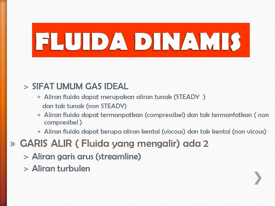 ˃ SIFAT UMUM GAS IDEAL + Aliran fluida dapat merupakan aliran tunak (STEADY ) dan tak tunak (non STEADY) + Aliran fluida dapat termanpatkan (compressi