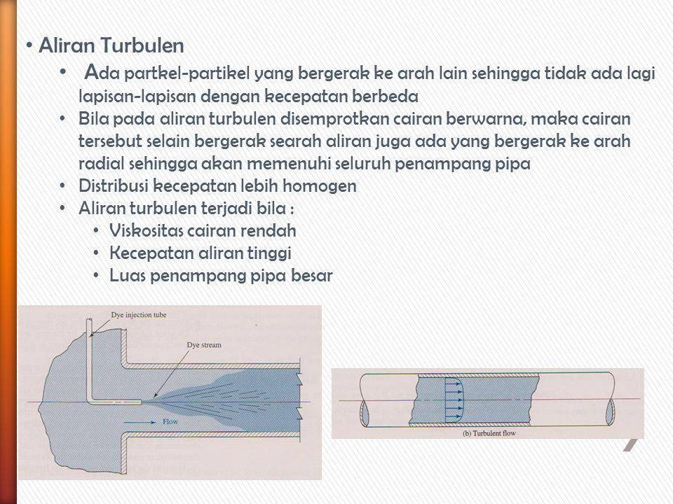Aliran Turbulen A da partkel-partikel yang bergerak ke arah lain sehingga tidak ada lagi lapisan-lapisan dengan kecepatan berbeda Bila pada aliran tur