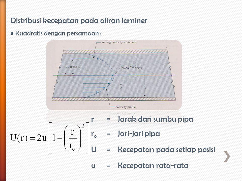 Distribusi kecepatan pada aliran laminer Kuadratis dengan persamaan : r=Jarak dari sumbu pipa roro =Jari-jari pipa U=Kecepatan pada setiap posisi u=Ke