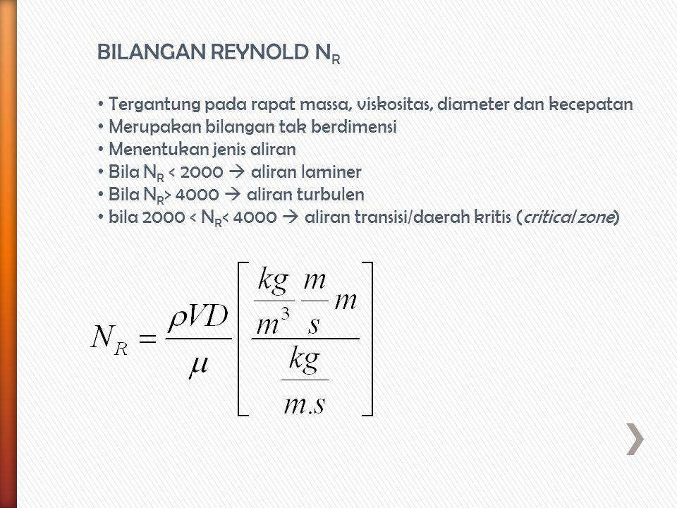 BILANGAN REYNOLD N R Tergantung pada rapat massa, viskositas, diameter dan kecepatan Merupakan bilangan tak berdimensi Menentukan jenis aliran Bila N