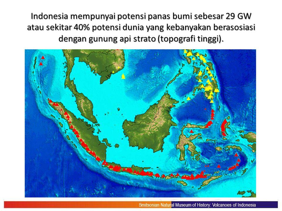 Indonesia mempunyai potensi panas bumi sebesar 29 GW atau sekitar 40% potensi dunia yang kebanyakan berasosiasi dengan gunung api strato (topografi ti