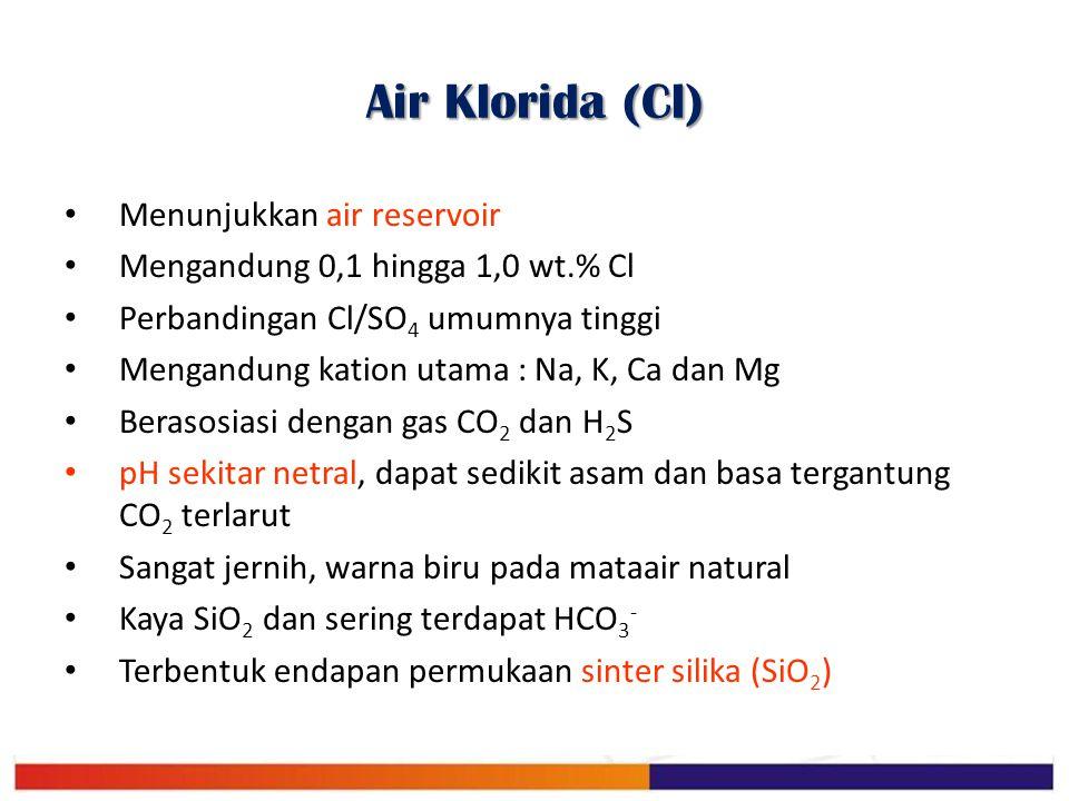 Air Klorida (Cl) Menunjukkan air reservoir Mengandung 0,1 hingga 1,0 wt.% Cl Perbandingan Cl/SO 4 umumnya tinggi Mengandung kation utama : Na, K, Ca d