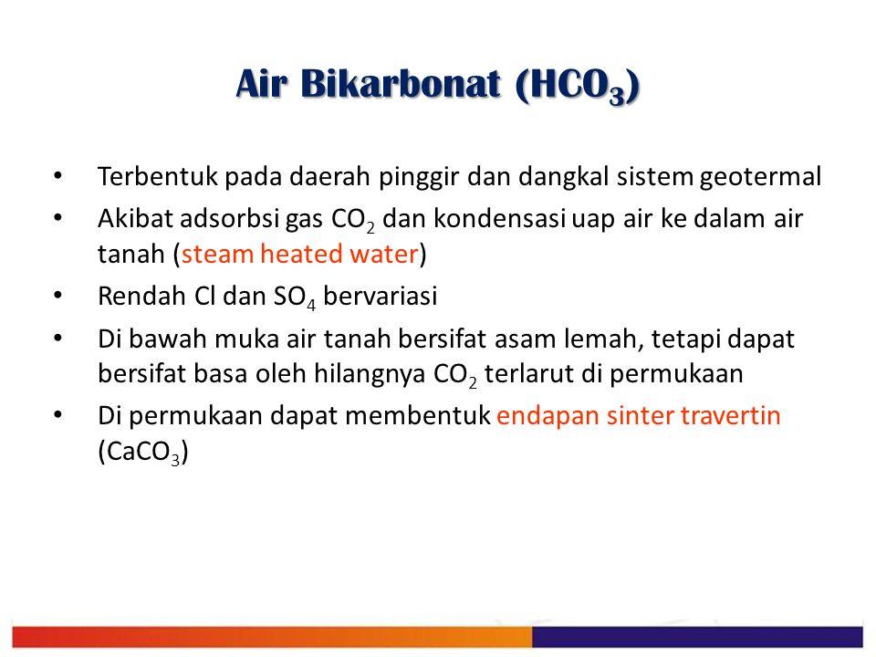 Air Bikarbonat (HCO 3 ) Terbentuk pada daerah pinggir dan dangkal sistem geotermal Akibat adsorbsi gas CO 2 dan kondensasi uap air ke dalam air tanah