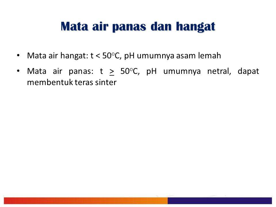 Mata air panas dan hangat Mata air hangat: t < 50 o C, pH umumnya asam lemah Mata air panas: t > 50 o C, pH umumnya netral, dapat membentuk teras sint