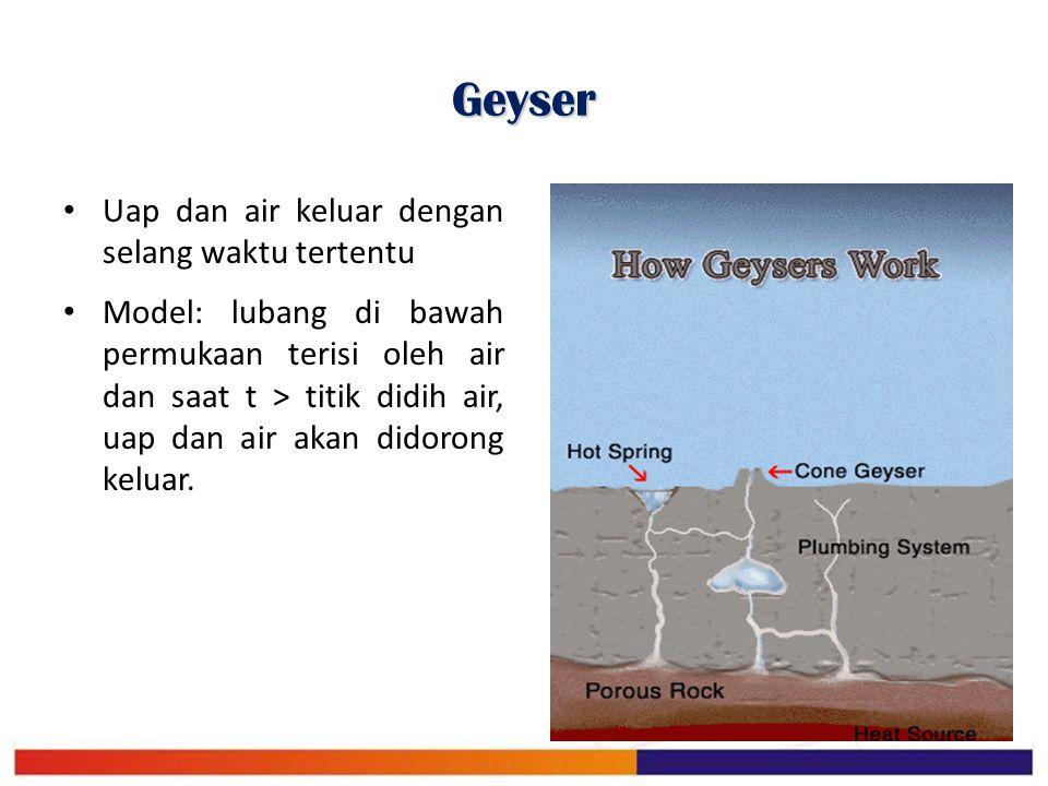 Geyser Uap dan air keluar dengan selang waktu tertentu Model: lubang di bawah permukaan terisi oleh air dan saat t > titik didih air, uap dan air akan