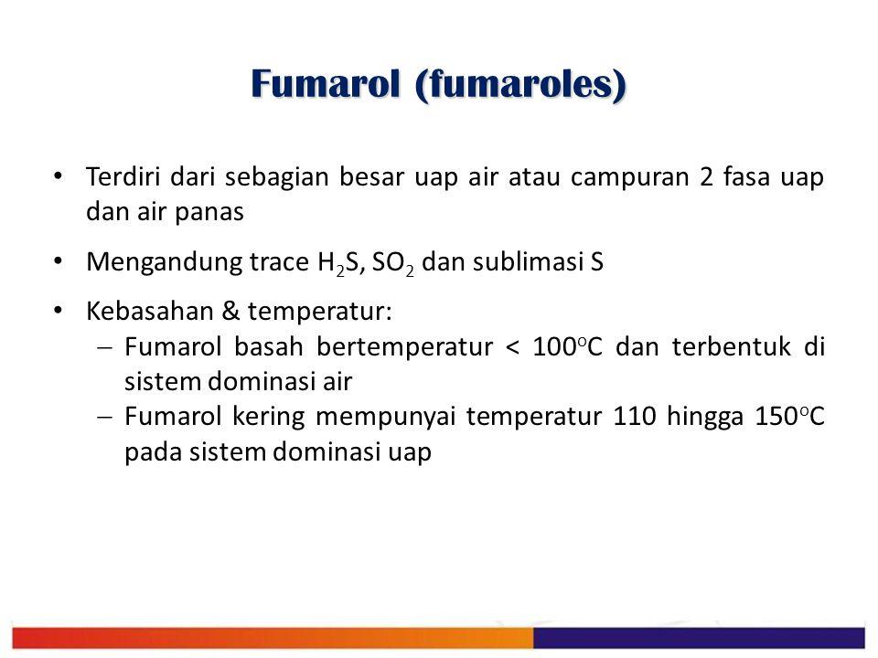 Fumarol (fumaroles) Terdiri dari sebagian besar uap air atau campuran 2 fasa uap dan air panas Mengandung trace H 2 S, SO 2 dan sublimasi S Kebasahan