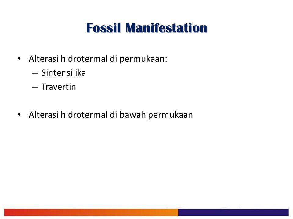 Fossil Manifestation Alterasi hidrotermal di permukaan: – Sinter silika – Travertin Alterasi hidrotermal di bawah permukaan