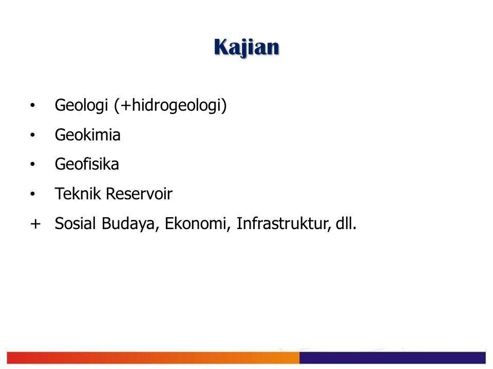 Kajian Geologi (+hidrogeologi) Geokimia Geofisika Teknik Reservoir + Sosial Budaya, Ekonomi, Infrastruktur, dll.