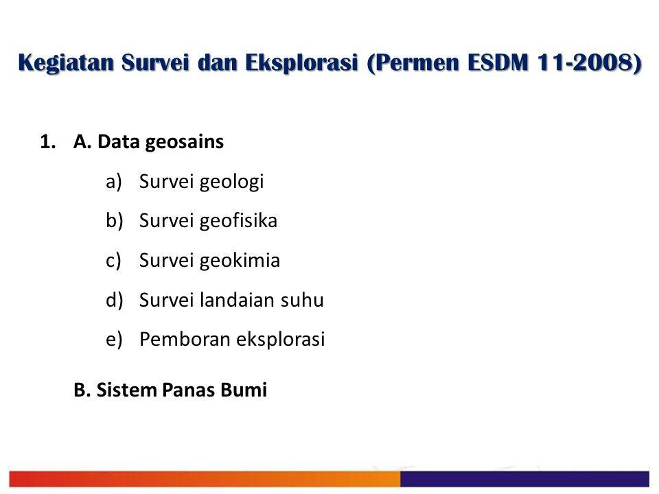 Kegiatan Survei dan Eksplorasi (Permen ESDM 11-2008) 1.A. Data geosains a)Survei geologi b)Survei geofisika c)Survei geokimia d)Survei landaian suhu e