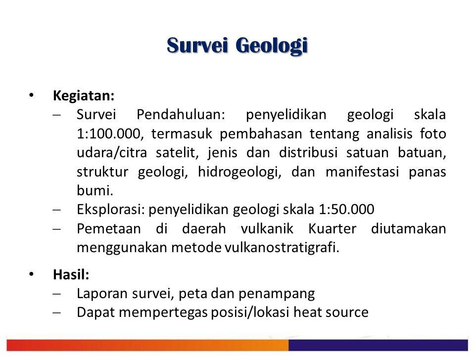 Survei Geologi Kegiatan:  Survei Pendahuluan: penyelidikan geologi skala 1:100.000, termasuk pembahasan tentang analisis foto udara/citra satelit, je
