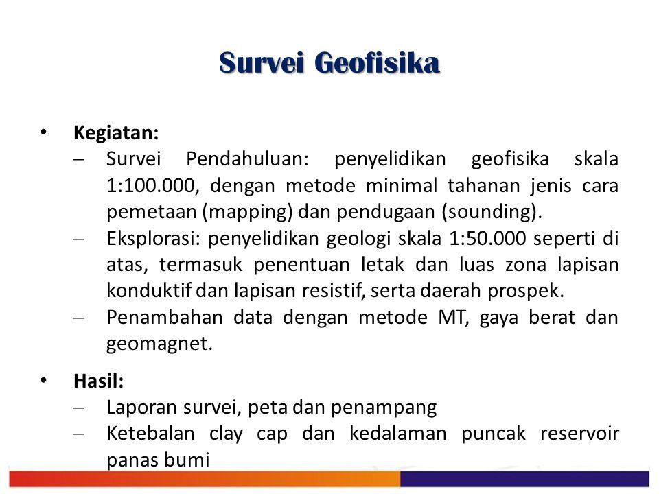 Survei Geofisika Kegiatan:  Survei Pendahuluan: penyelidikan geofisika skala 1:100.000, dengan metode minimal tahanan jenis cara pemetaan (mapping) d