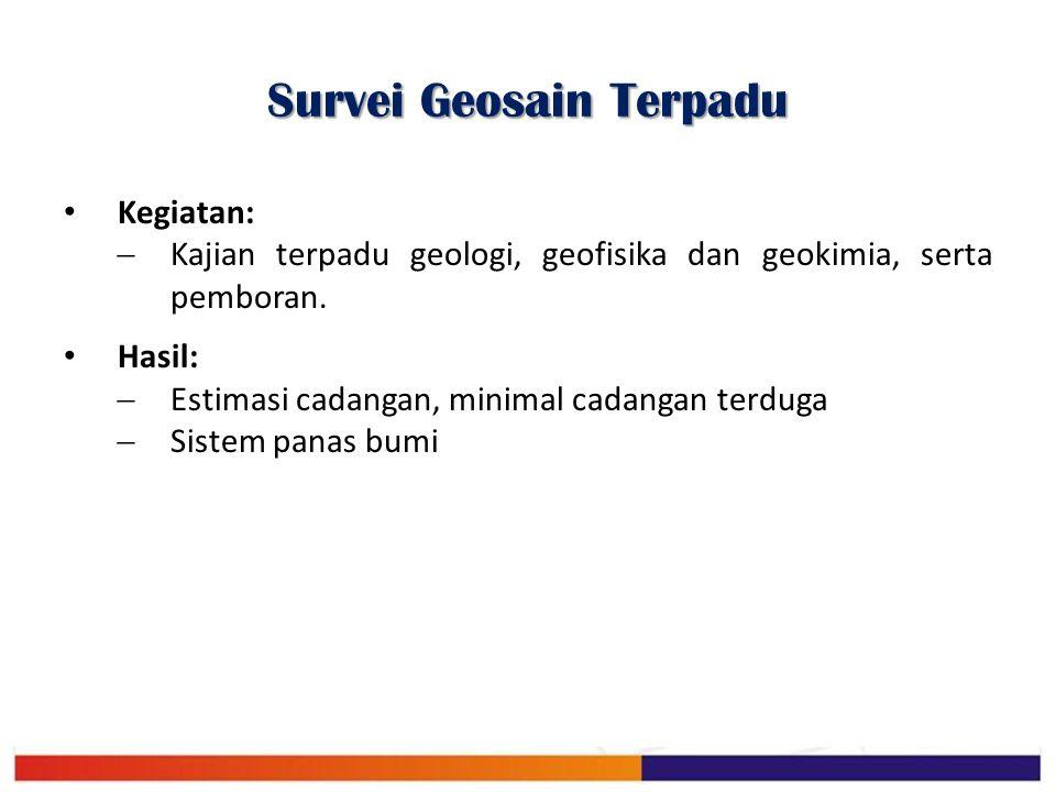 Survei Geosain Terpadu Kegiatan:  Kajian terpadu geologi, geofisika dan geokimia, serta pemboran. Hasil:  Estimasi cadangan, minimal cadangan terdug