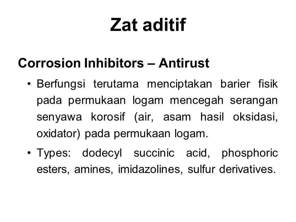 Zat aditif Corrosion Inhibitors – Antirust Berfungsi terutama menciptakan barier fisik pada permukaan logam mencegah serangan senyawa korosif (air, as