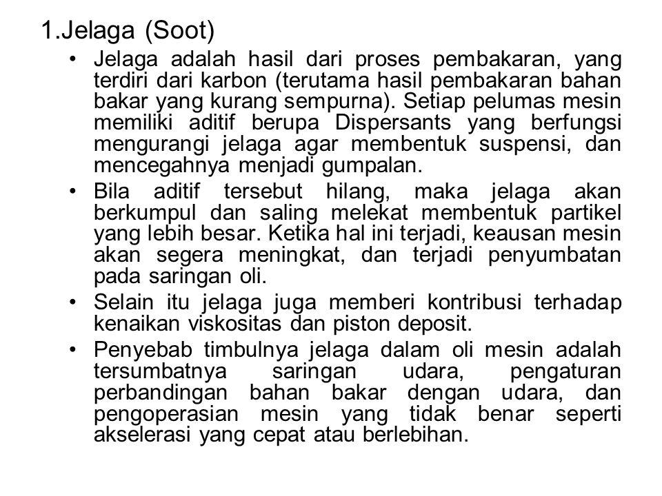 1.Jelaga (Soot) Jelaga adalah hasil dari proses pembakaran, yang terdiri dari karbon (terutama hasil pembakaran bahan bakar yang kurang sempurna). Set