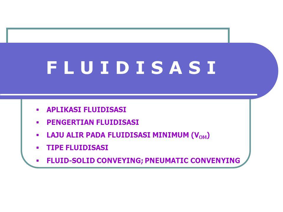 F L U I D I S A S I  APLIKASI FLUIDISASI  PENGERTIAN FLUIDISASI  LAJU ALIR PADA FLUIDISASI MINIMUM (V OM )  TIPE FLUIDISASI  FLUID-SOLID CONVEYIN