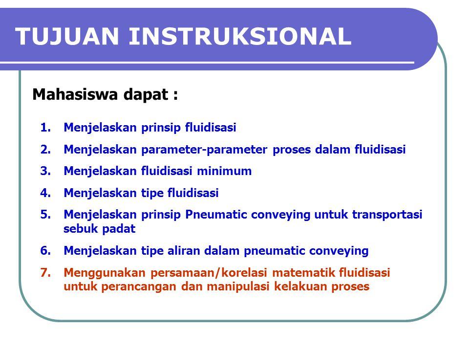 TUJUAN INSTRUKSIONAL Mahasiswa dapat : 1.Menjelaskan prinsip fluidisasi 2.Menjelaskan parameter-parameter proses dalam fluidisasi 3.Menjelaskan fluidi