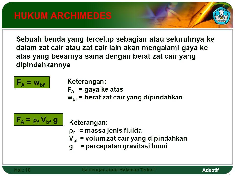 Adaptif Hal.: 10 Isi dengan Judul Halaman Terkait HUKUM ARCHIMEDES Sebuah benda yang tercelup sebagian atau seluruhnya ke dalam zat cair atau zat cair