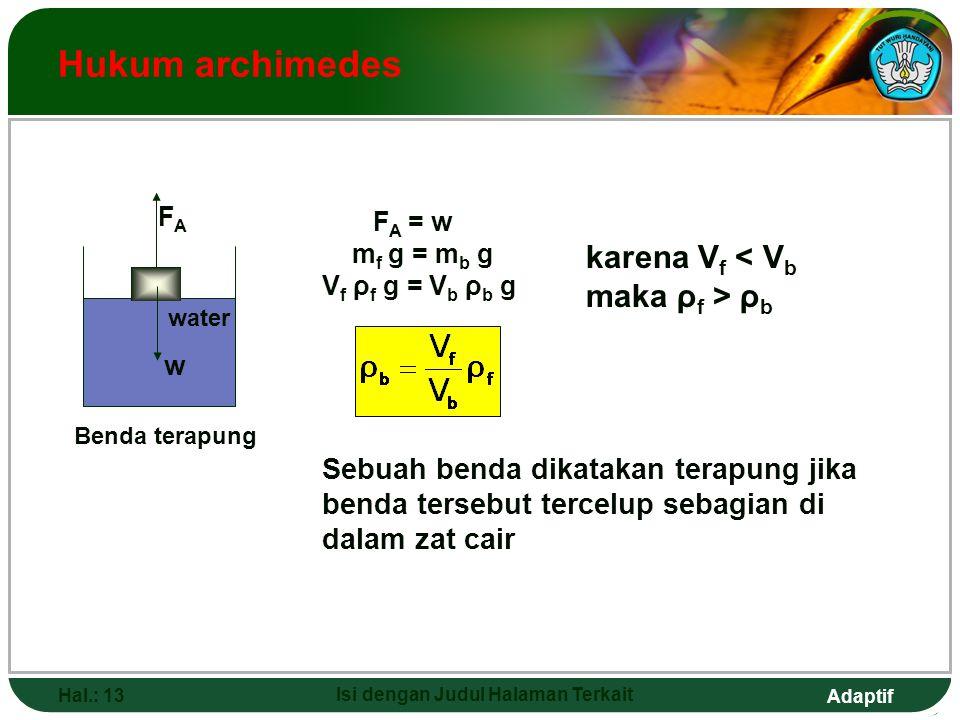 Adaptif Hal.: 13 Isi dengan Judul Halaman Terkait Hukum archimedes Benda terapung Sebuah benda dikatakan terapung jika benda tersebut tercelup sebagia