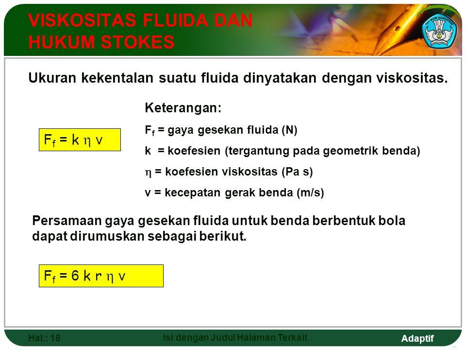 Adaptif Hal.: 18 Isi dengan Judul Halaman Terkait VISKOSITAS FLUIDA DAN HUKUM STOKES Ukuran kekentalan suatu fluida dinyatakan dengan viskositas. F f