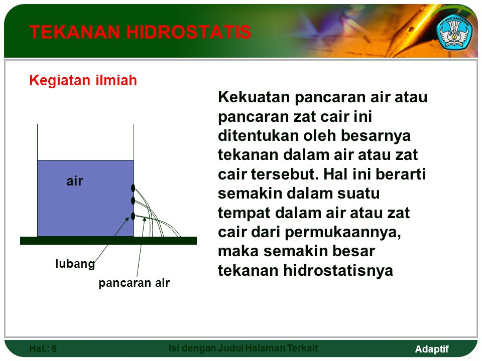 Adaptif Hal.: 7 Isi dengan Judul Halaman Terkait HUKUM POKOK HIDROSTATIS Source: http://superphysics.netfirms.com/t240754a.jpghttp://superphysics.netfirms.com/t240754a.jpg Setiap titik yang terletak pada bidang datar di dalam suatu zat cair memiliki tekanan hidrostatis yang sama