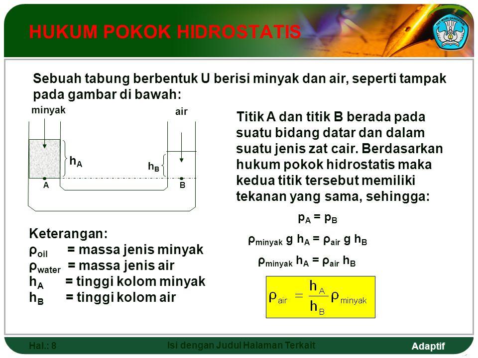 Adaptif Hal.: 8 Isi dengan Judul Halaman Terkait HUKUM POKOK HIDROSTATIS hAhA hBhB minyak air AB Sebuah tabung berbentuk U berisi minyak dan air, sepe