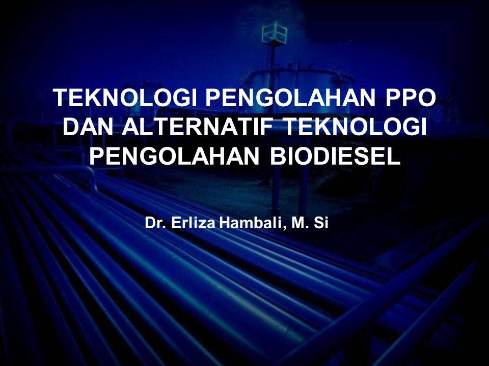 Karakteristik Fisik Beberapa Biodiesel Dibandingkan dengan Diesel No.Parameter Value PalmRapeseedSunflower seed SoybeanJatrophaDiesel 1.Density,g/mL (15 0 C) 0.859 – 0.8750.875 – 0.9000.885 – 0.8800.8840.8790.8253 2.Kinetic Viscosity (CSt) (40 0 C) 4.3 – 6.33.50 – 5.004.20 – 4.403.05 – 4.084.843.16 3.Cloud point ( 0 C) 13 – 16-3 to 10 – 3-2 to 2-2 – 2-18 5.Flash point ( 0 C) 155 – 174153 – 179164 – 183141 – 17119170 6.Calorie, LHV (MJ/kg) 37-3837.235.34 – 37.6937.1 – 38.137-3841 7.Sulfur content (%) 0.04< 0.010.004 – 0.010.01-Max 500 8.Cetane number 50 – 7049 – 6245 – 6145.0 – 54.85151.5 Sumber : Mittelbach and Remschmidt (2004)