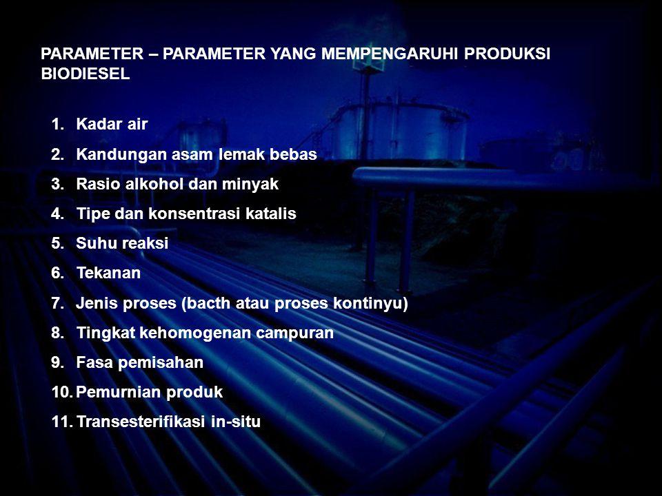 PARAMETER – PARAMETER YANG MEMPENGARUHI PRODUKSI BIODIESEL 1.Kadar air 2.Kandungan asam lemak bebas 3.Rasio alkohol dan minyak 4.Tipe dan konsentrasi katalis 5.Suhu reaksi 6.Tekanan 7.Jenis proses (bacth atau proses kontinyu) 8.Tingkat kehomogenan campuran 9.Fasa pemisahan 10.Pemurnian produk 11.Transesterifikasi in-situ